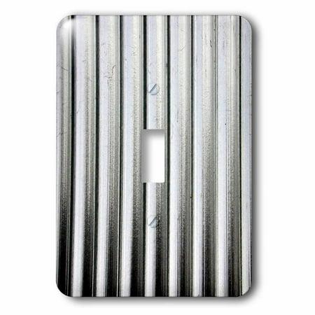 Silver Metal Toggle (3dRose Image of Silver Corrugated Metal - Single Toggle Switch )