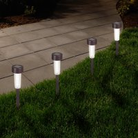 Deals on Pure Garden Textured LED Solar Path Lights Bronze Set of 6