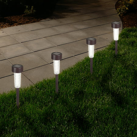 Textured LED Solar Path Lights - Bronze - Set of 6 by Pure Garden ()