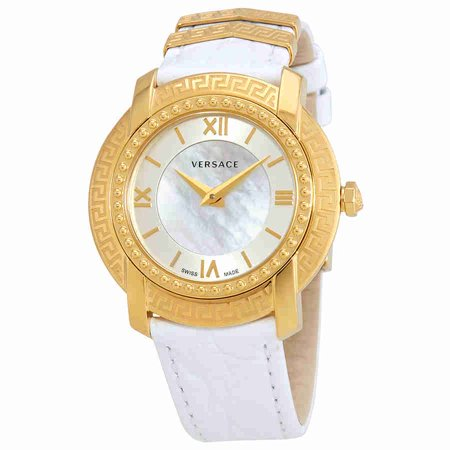 Versace DV25 Mother of Pearl Dial White Leather Ladies Watch VAM01 0016 Pearl Dial Leather Lizard
