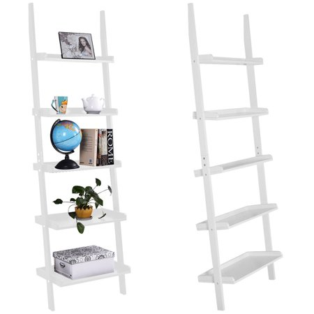 Costway Versatile White 5-Tier Bookshelf Leaning Wall Shelf Ladder  Bookcase Storage Display Furni