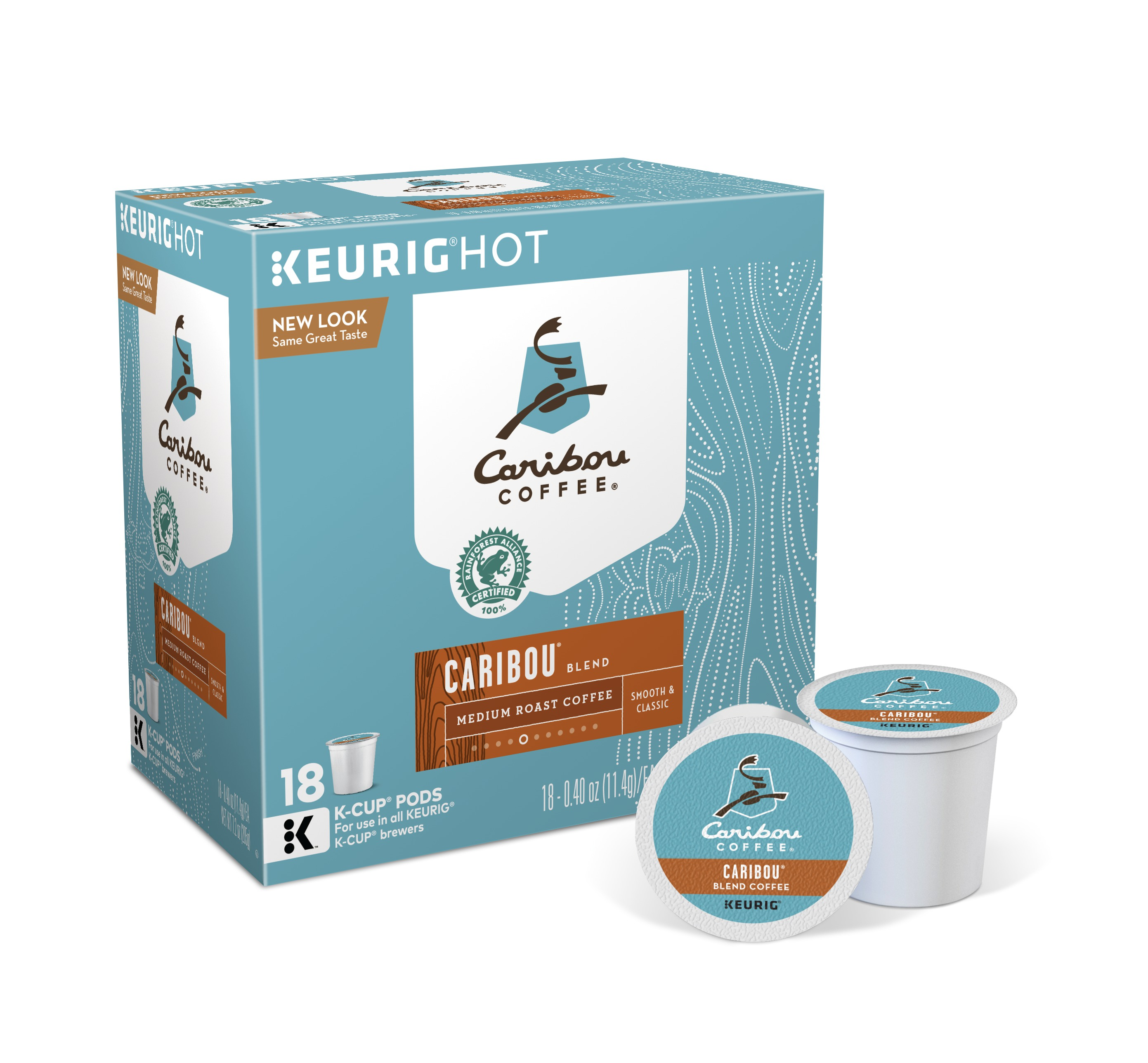 Caribou Coffee Caribou Blend Keurig Single-Serve K-Cup Pod, Medium Roast Coffee, 18 Count