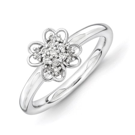 Stackable Expressions Diamond Sterling Silver And Black Plated Flower Ring