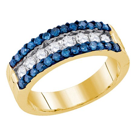 10kt Las Designer Yellow Gold Blue Diamond Wedding Band 1 00ctw