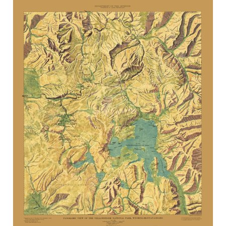 Topographic Map Of Yellowstone.Old Topographical Map Print Yellowstone National Park Wyoming