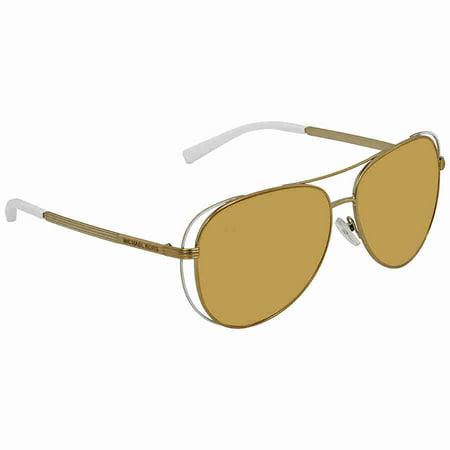 Michael Kors White Liquid Gold Aviator Ladies Sunglasses (Michael Kors White Sunglasses)