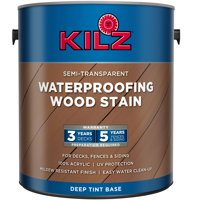 KILZ Semi-Transparent Waterproofing Wood Stain Exterior Paint, Deep Tint Base, Brown, 1 Gallon