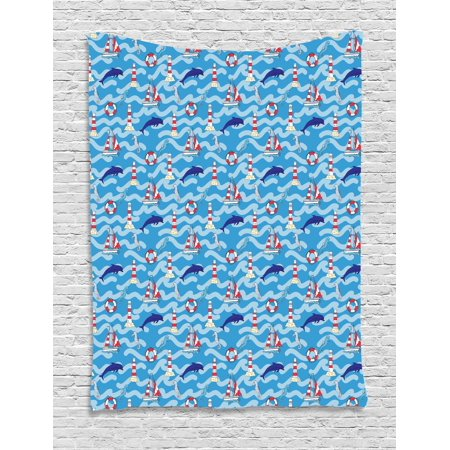 Lighthouse Tapestry, Wavy Lines Aquatic Elements Dolphins Seahorses and Boats Marine Summer, Wall Hanging for Bedroom Living Room Dorm Decor, 60W X 80L Inches, Blue Navy Blue Red, by Ambesonne