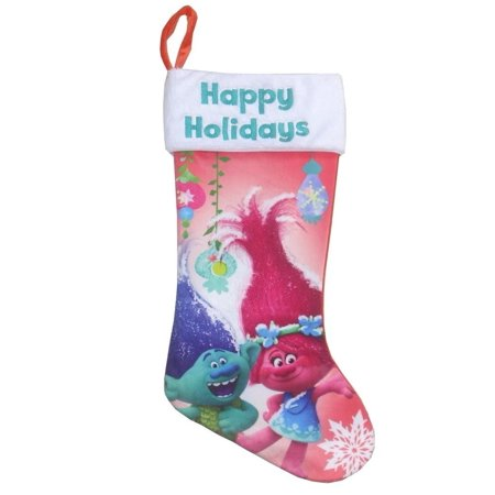 Poppy Christmas Holiday Stocking  Happy Holidays  By Trolls