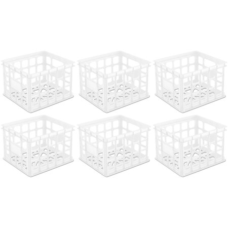 6 Pack) Sterilite 16928006 Plastic White Storage Box Milk ...