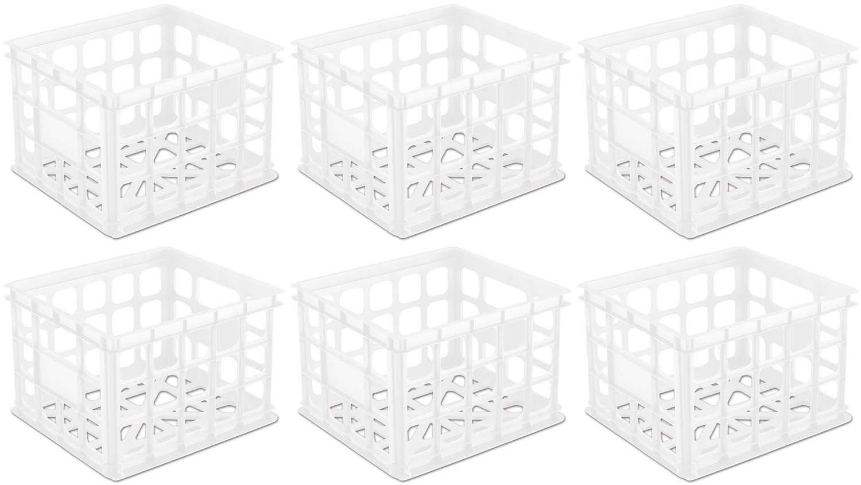 6 Pack) Sterilite 16928006 Plastic White Storage Box Milk Crate Containers  Home