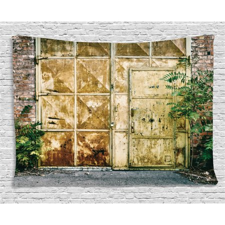 Industrial Tapestry  Rustic Brick House Still Door With Moss And Dirt Urban Garage Outdoor Image  Wall Hanging For Bedroom Living Room Dorm Decor  60W X 40L Inches  Green Yellow  By Ambesonne