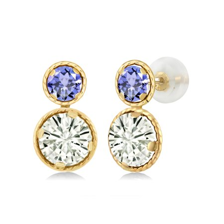 14K Yellow Gold Earrings Forever Classic Round Created Moissanite 1.60ct DEW (14k Yellow Gold Moissanite Earrings)