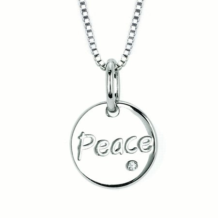 Sterling Silver Diamond Accent Peace Disc Pendant Necklace