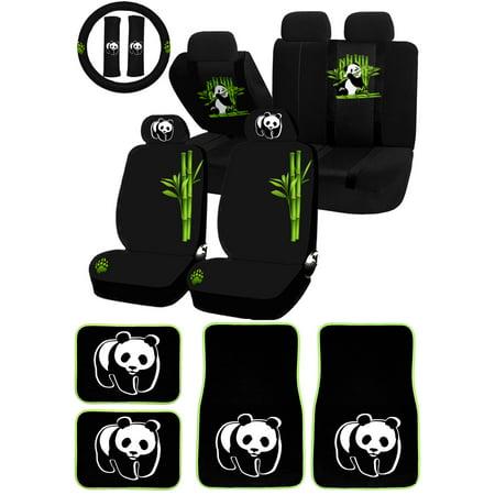 22PC Panda Bear Cute Animal Bamboo Universal Seat Covers Carpet Mat Set Car Truck SUV