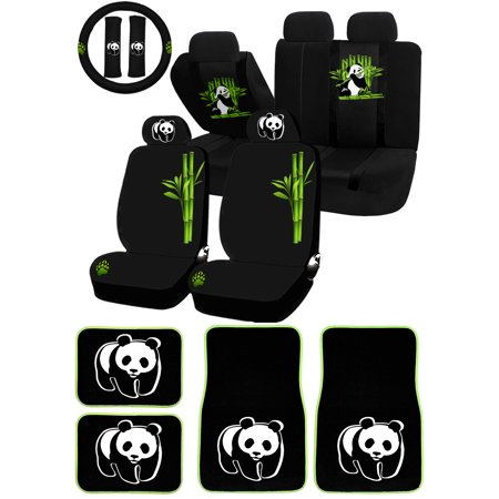 Awe Inspiring 22Pc Panda Bear Cute Animal Bamboo Universal Seat Covers Carpet Mat Set Car Truck Suv Machost Co Dining Chair Design Ideas Machostcouk