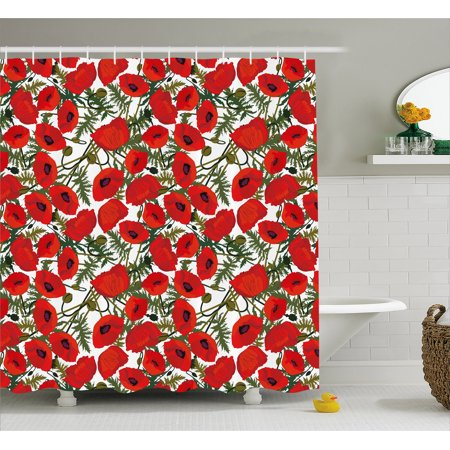 Poppy Flower Organic Horn - Poppy Shower Curtain, Abstract Flower Pattern with Garden Foliage Botanical Bouquets Organic Meadows, Fabric Bathroom Set with Hooks, 69W X 70L Inches, Green Red White, by Ambesonne