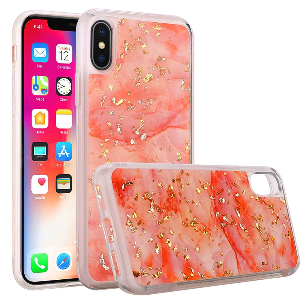 iPhone X Case, Shiny Marble Design Glitter Clear Bumper Matte TPU Soft Rubber Silicone Cover Phone Case for Apple iPhone X, iPhone 10 [2017] - Pink
