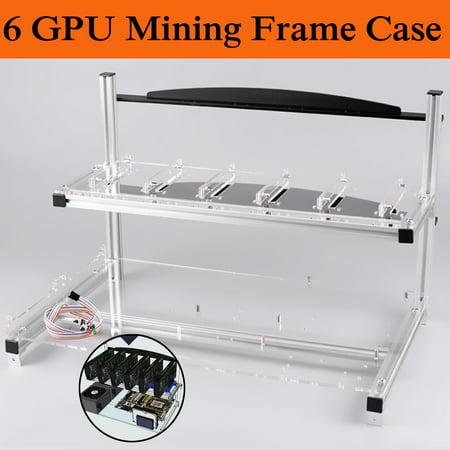 Aluminum Open Air Mining Miner Rig case Case Frame For 6 GPU Bitcoin zCash Ethereum BTC LTC