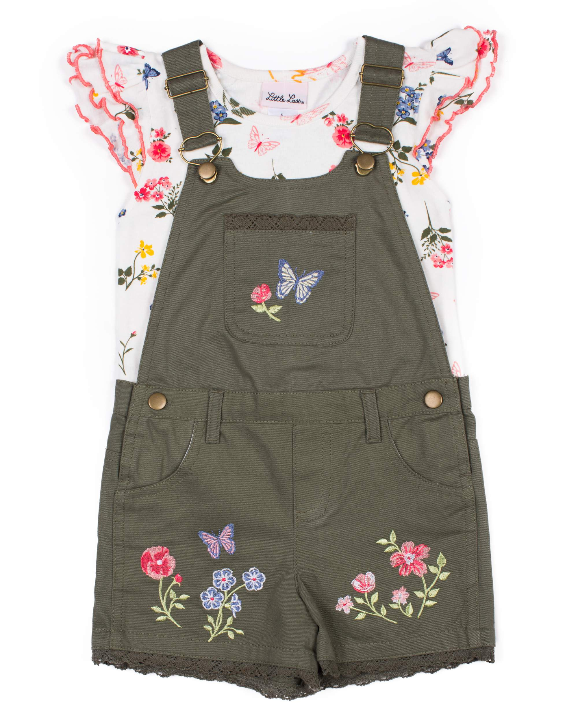 Floral Embroidered Shortall and Ruffle Tee, 2-Piece Outfit Set (Little Girls)