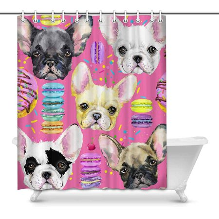 MKHERT French Bulldog Puppy Donuts Watercolor Waterproof Shower Curtain Decor Fabric Bathroom Set Hooks 60x72 Inch