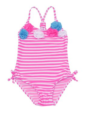 0b19326254378 Product Image Real Love Little Girls Pink Stripe Rosette Accent One Piece  Swimsuit