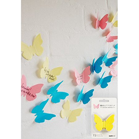 Suck UK 3D Butterfly Sticky Note Pad, 70 sheets, 3 colors: Yellow, Pink and (Uk Blue Color)