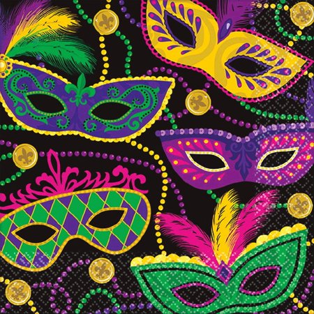 Mardi Gras Napkins (Colorful Mardi Gras Masks Beads 16 ct Beverage)