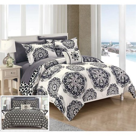 Chic Home CS4023-US Hilda Super Soft Microfiber Printed Medallion Reversible Geometric Printed Backing Bed in a Bag Comforter Set with Sheets - Black - Large, Full & Queen - 8 Piece (bed in a bag queen sale)