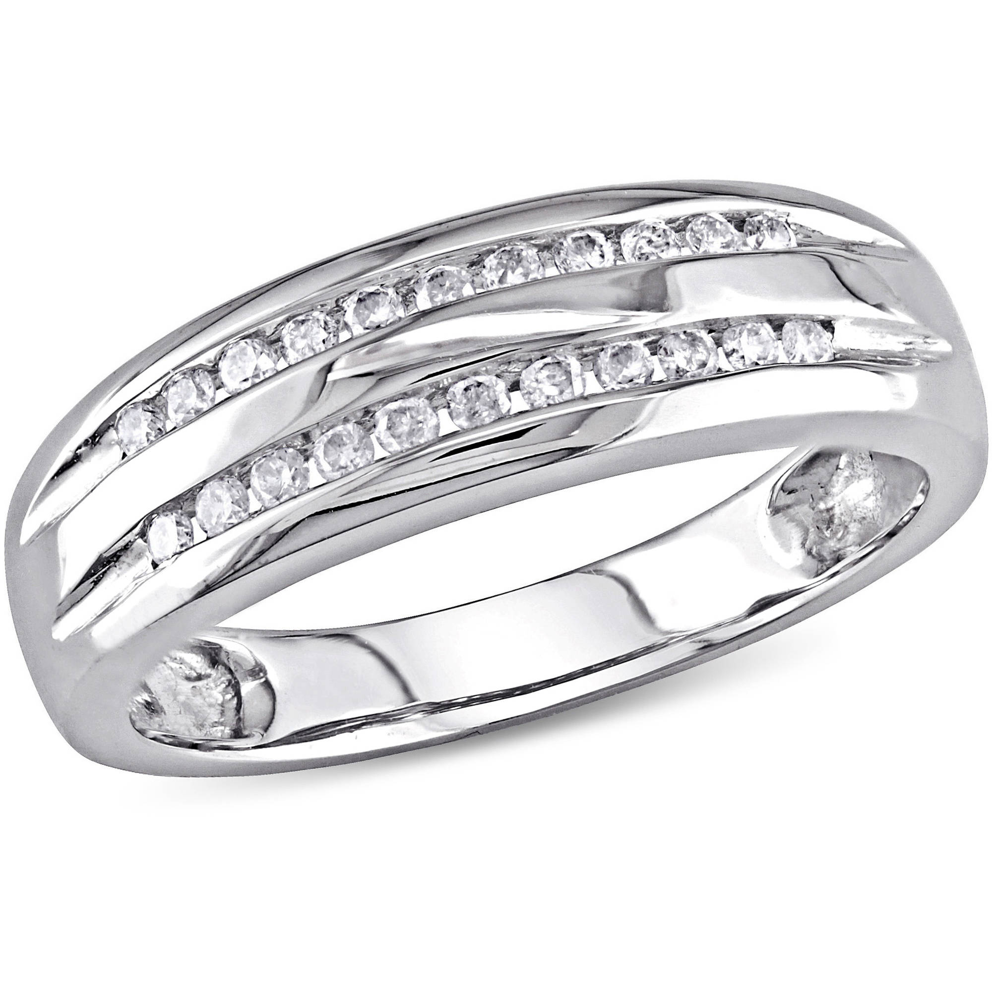 Miabella 1/6 Carat T.W. Double-Row Diamond 10kt White Gold Wedding Band