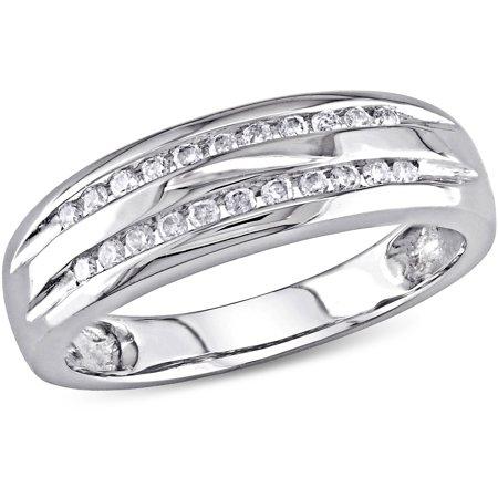 miabella 16 carat tw double row diamond 10kt white gold wedding band - Walmart Wedding Ring