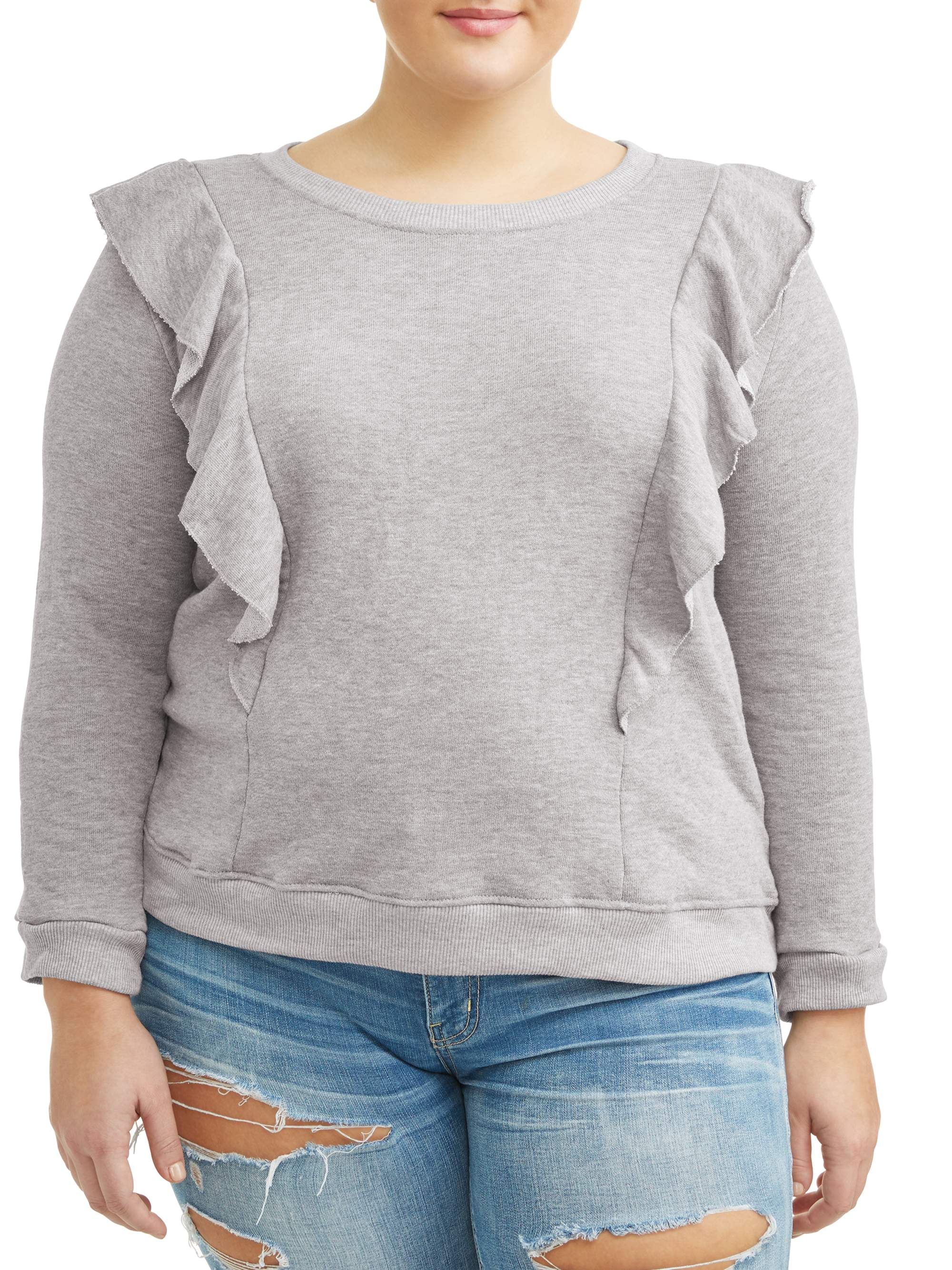 Juniors' Plus Size Scoop Neck Long Sleeve Sweatshirt with Princess Ruffles