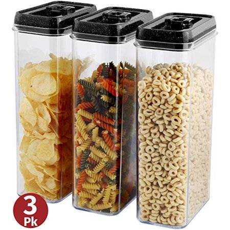 Kitchen Storage Containers Set – Airtight Food Storage Containers With Lids – 3 Piece Set/Same Size 2.8 Liter – Large Clear Durable Plastic Food Containers- 6 L X 3.7 W X 12 H – BPA Free By Herevin ()