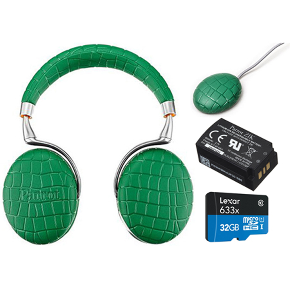 Parrot Zik 3 Wireless Noise Cancelling Headphones with Wireless Charger, Battery + Lexar 32GB MicroSDHC UHS-I 633X High-Performance Memory Card Bundle (Emerald Green Croc)