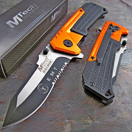 - mtech ballistic speed assisted opening orange and black emt linerlock knife new!