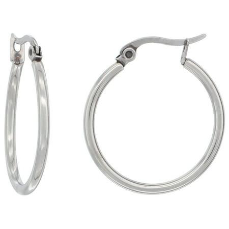 3222bc704 WorldJewels - Surgical Steel Round 2mm Thin Hoop Earrings Hinged Closure, 1  inch in diameter - Walmart.com