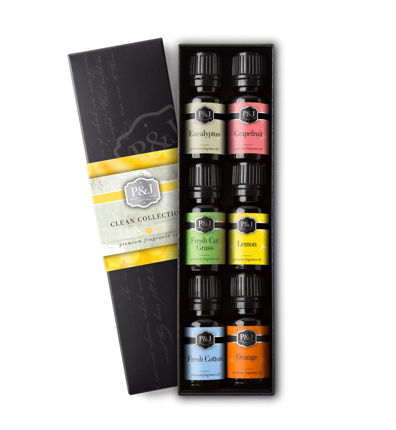 Clean Set of 6 Fragrance Oils Premium Grade Scented Oil 10ml Fresh Cotton, Lemon, Orange,... by P&J Trading