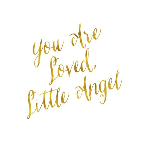 You are Loved Little Angel Gold Faux Foil Metallic Glitter Quote Print Wall Art By silverspiralarts
