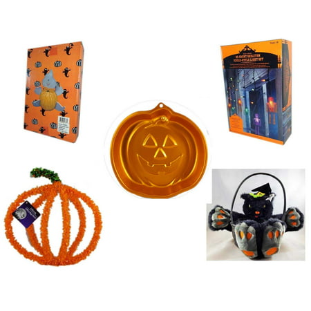 Iridescent Set - Halloween Fun Gift Bundle [5 Piece] -  Ghost Pumpkin Push In 5 Piece Head Arms Legs - 35 Count Skeleton Icicle-Style Light Set - Wilton Iridescents Jack-O-Lantern Pan -  Pumpkin Plastic on Wire Deco