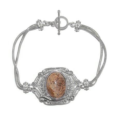 - Picture Jasper Platinum Plated Brass Bracelet for Women 7.50