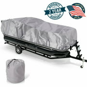 PYLE PCVHP440 - Armor Shield Trailer Guard Pontoon Boat Cover 17'-20'L Beam Width to 96''