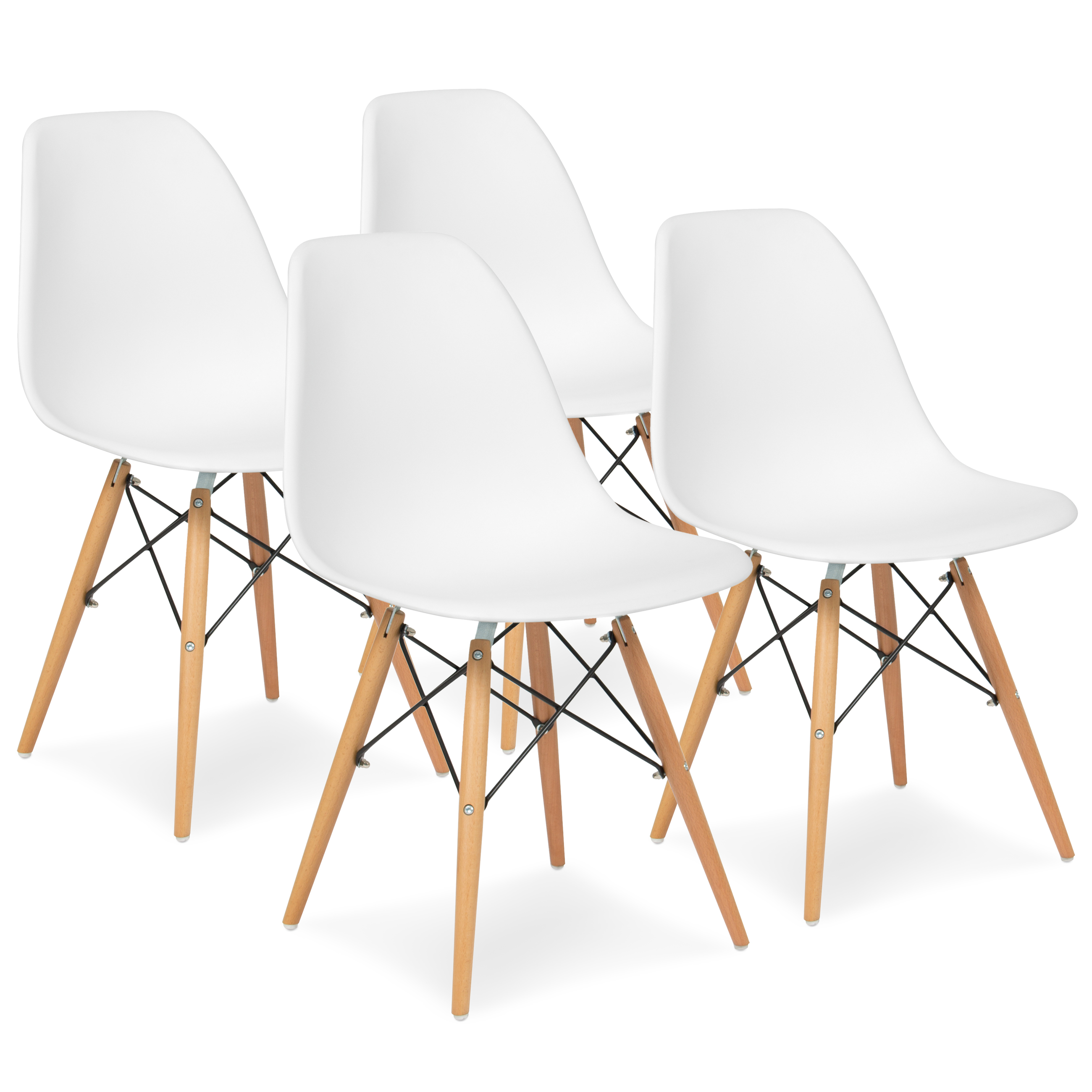 Best Choice Products Set of 4 Mid Century Modern Eames Style Dining Chair w  Wood Legs, Molded Plastic Shell White by