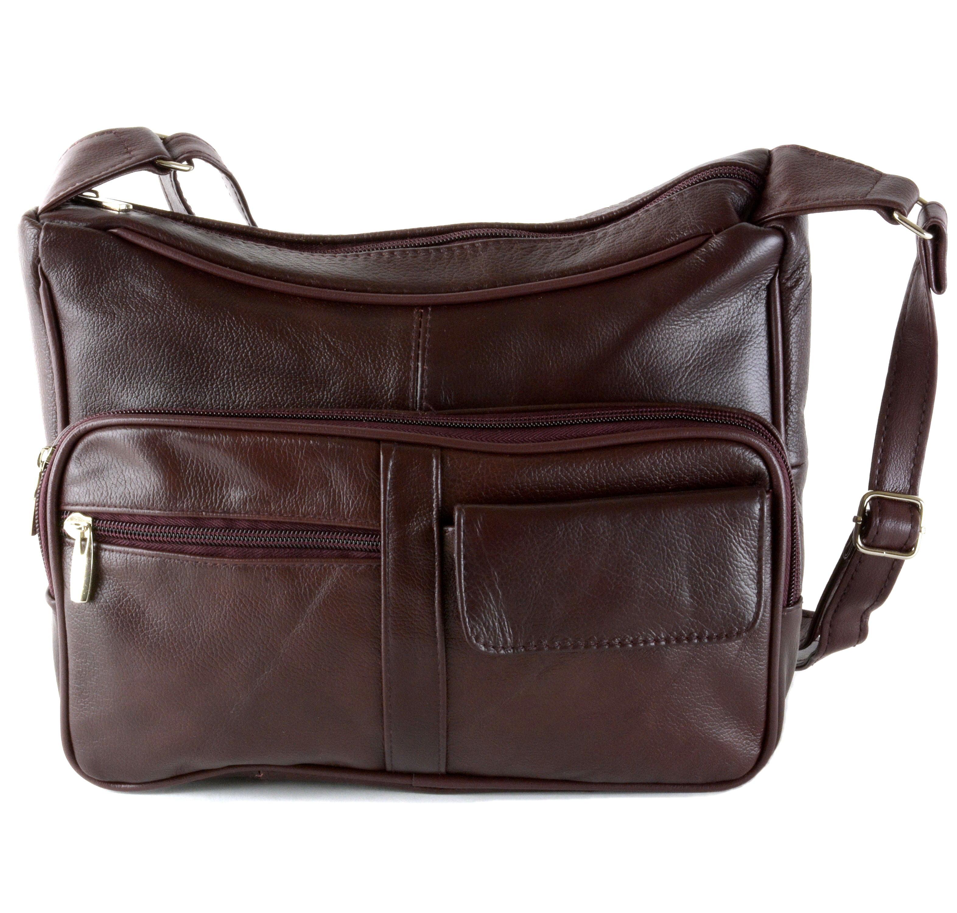 Women s Leather Organizer Purse Shoulder Bag Multiple Pockets Cross Body  Handbag f83c091aecd60