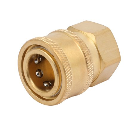 Unique Bargains Pressure Washer Fittings Brass 15mm Hole to 3/8BSP Female Socket Quick Coupler
