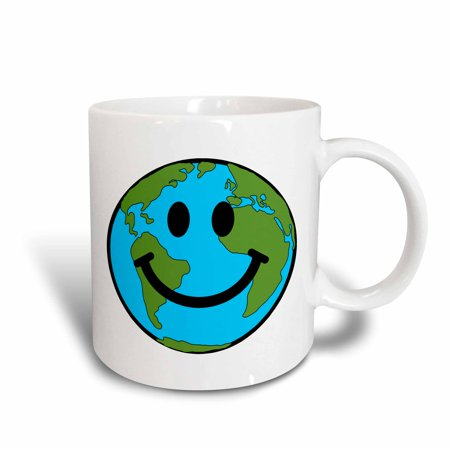 3Drose Happy Earth Smiley Face   Smiling Planet Globe   Eco Green Smile Peaceful World Peace Cute Smilie  Ceramic Mug  11 Ounce