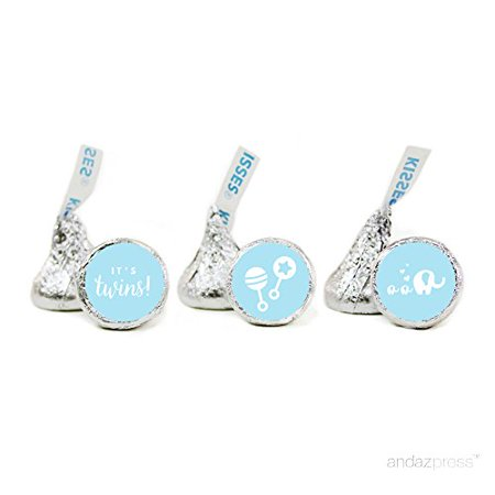 Baby Blue Twins Baby Shower Hershey´s Kisses Stickers, 216-Pack