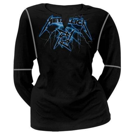 Lightning Long Sleeve (Metallica - Lightning V Neck Juniors Long Sleeve T-Shirt )