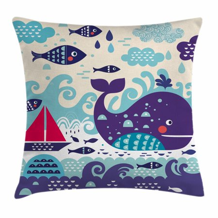 Ocean Animal Decor Throw Pillow Cushion Cover  Marine Traffic With Whale Sailboat And Fish With Cloud And Waves Print  Decorative Square Accent Pillow Case  16 X 16 Inches  Purple  By Ambesonne