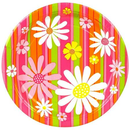 Floral \'Daisy Stripes\' Large Paper Plates (8ct) - Walmart.com