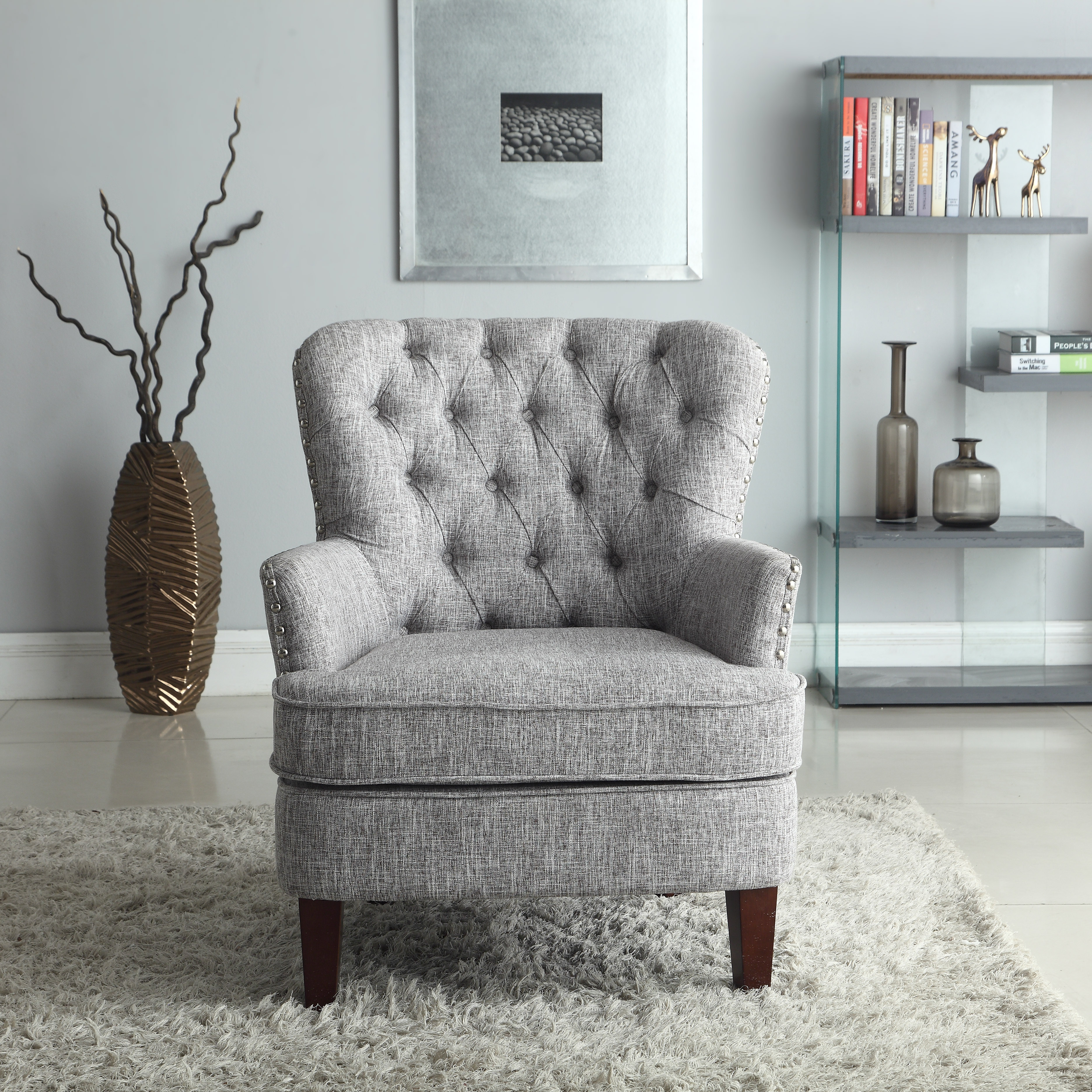 Button Tufted Accent Chair With Nailhead, Gray White Color   Walmart.com